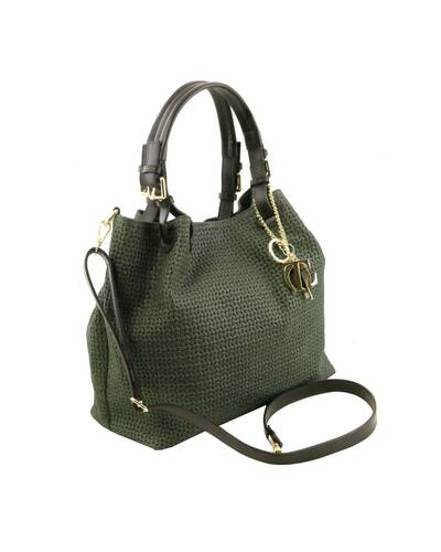 Tuscany Leather TL KeyLuck - Borsa shopping in pelle stampa intrecciata Verde - TL141573/10