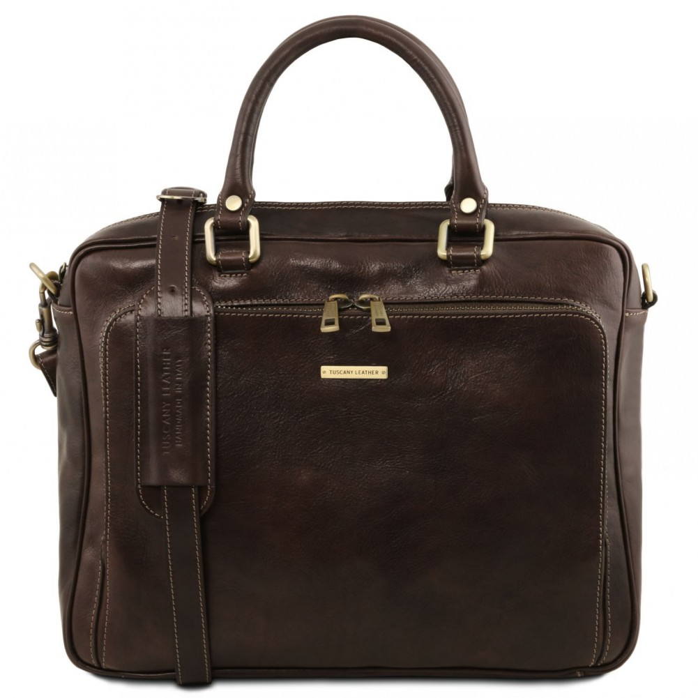 bade81afbf Tuscany Leather TL Messenger Leather double compartment laptop shoulder bag  Brown - TL141650 1
