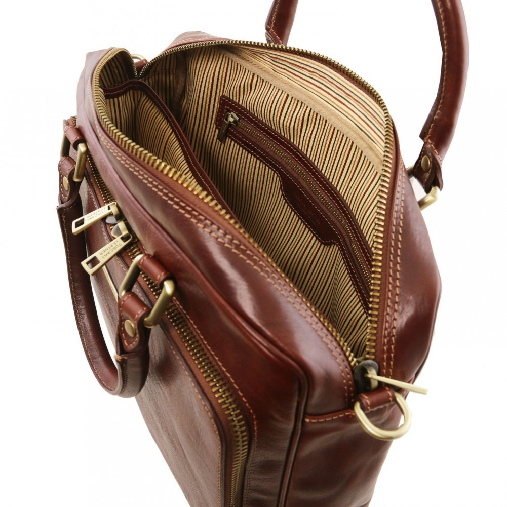 8fda2799b9 Tuscany Leather TL Messenger Leather double compartment laptop shoulder bag  Brown - TL141650 1