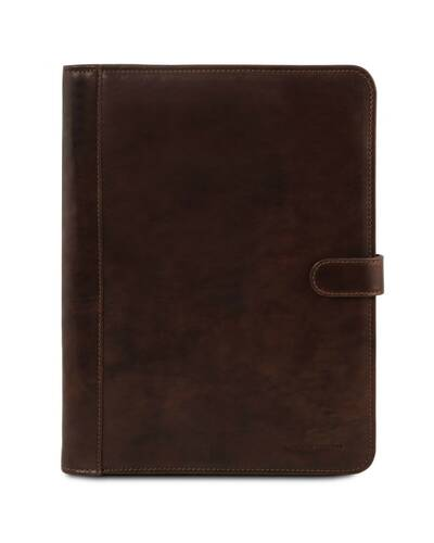 Tuscany Leather - Adriano - Leather document case with button closure Dark Brown - TL141275/5