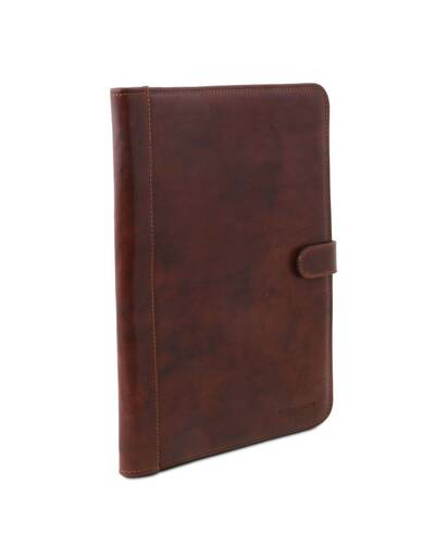 Tuscany Leather - Adriano - Leather document case with button closure Brown - TL141275/1