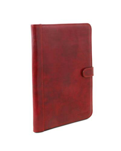 Tuscany Leather - Adriano - Leather document case with button closure Red - TL141275/4