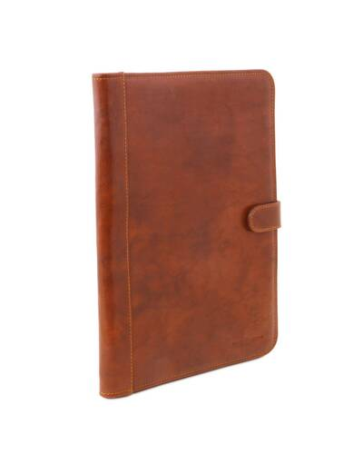 Tuscany Leather - Adriano - Leather document case with button closure Honey - TL141275/3