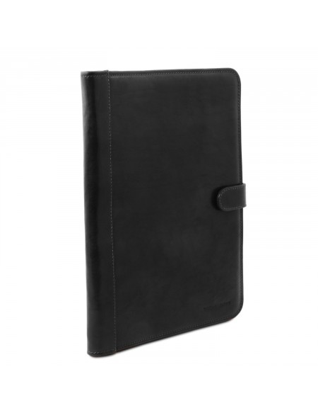 Tuscany Leather - Adriano - Leather document case with button closure Black - TL141275/2