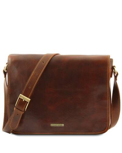 Tuscany Leather - Messenger double - Freestyle - Borsa in pelle Marrone - TL90475/1