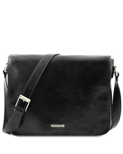 Tuscany Leather - Messenger double - Freestyle - Borsa in pelle Nero - TL90475/2