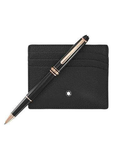 Montblanc Meisterstuck red gold Classique Rollerball and Pocket Holder Set - MB114121