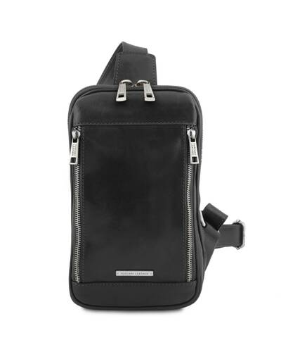 Tuscany Leather - Martin - Leather crossover bag Black - TL141536/2