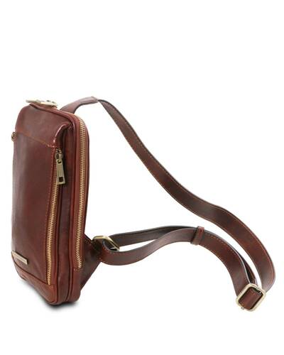 Tuscany Leather - Martin - Leather crossover bag Dark Brown - TL141536/5