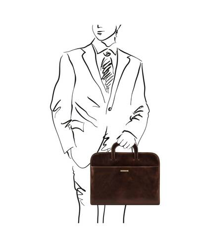 Tuscany Leather - Sorrento - Document Leather briefcase Dark Brown - TL141022/5