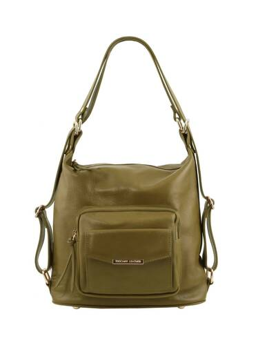Tuscany Leather TL Bag - Leather convertible bag Olive Green - TL141535/125