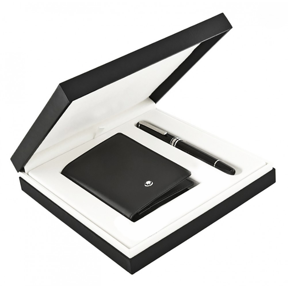 Montblanc Set con Meisterstück Platinum Classique Roller e porta biglietti da visita con soffietto - MB118907