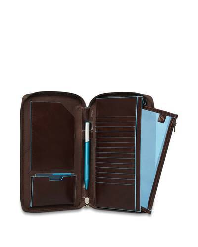 Piquadro Blue Square travel document holder with credit card slots, Mahogany - PP3246B2/MO