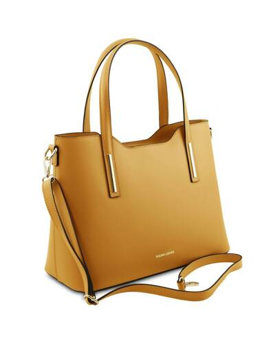 Tuscany Leather Olimpia - Borsa shopper in pelle Ruga Senape - TL141412/104