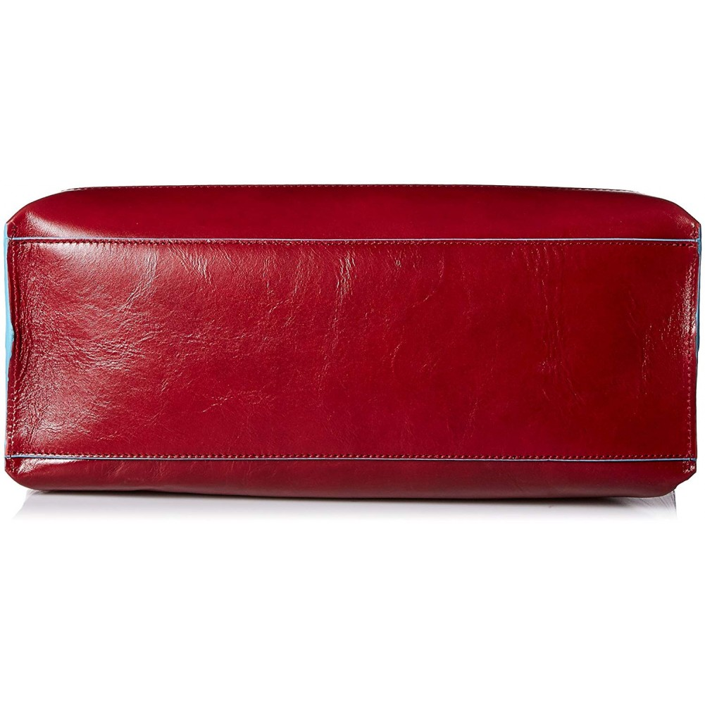 Piquadro Blue Square shopping bag in pelle sfoderata, Rosso - BD3336B2/RO