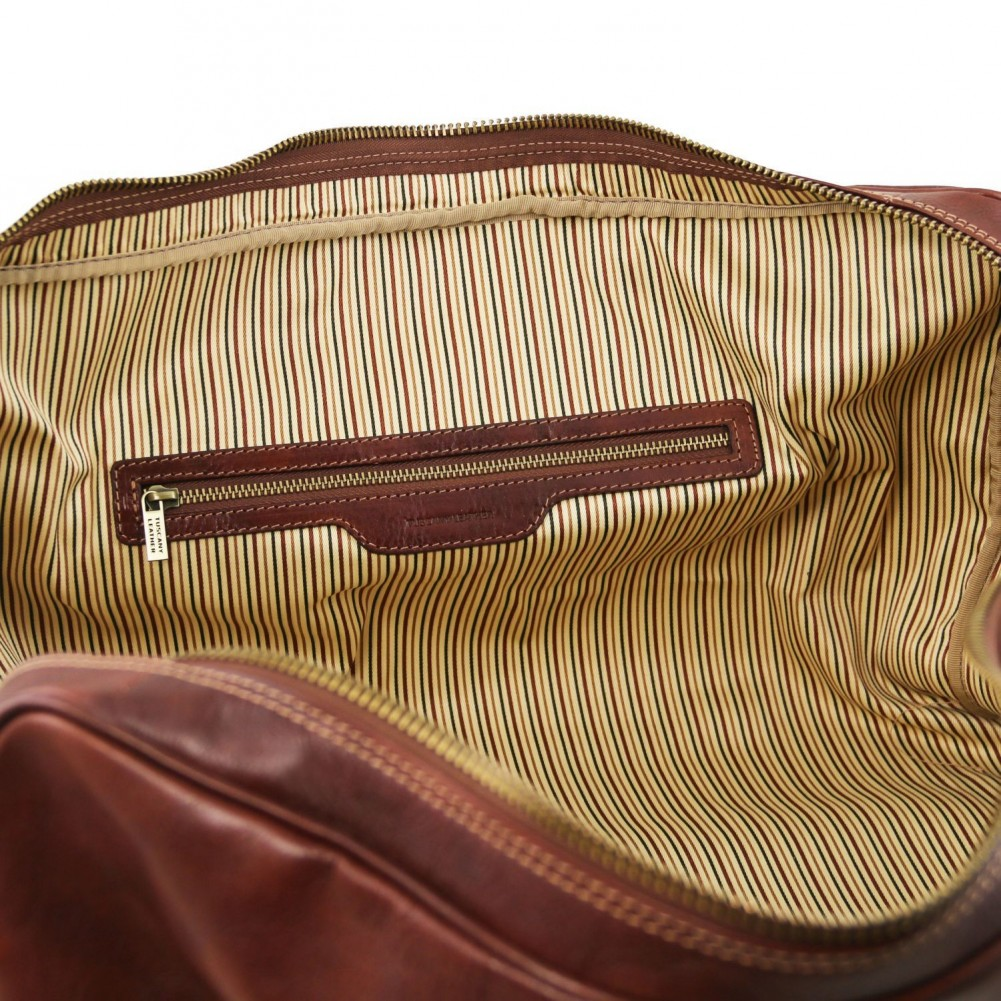 Tuscany Leather - Berlino - Borsa da viaggio in pelle con fibbie - Misura grande Marrone - TL1013/1