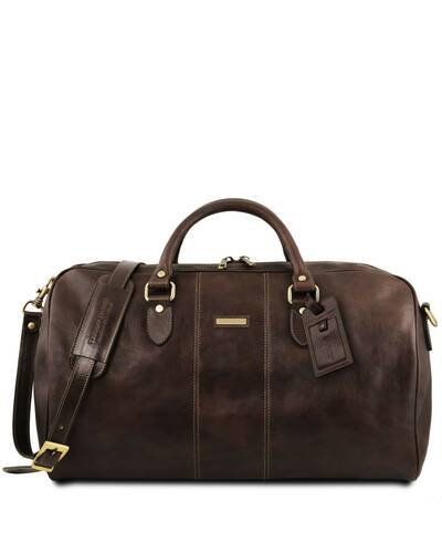 Tuscany Leather - Berlin - Travel leather duffle bag with front straps - Large size Brown - TL1013/1
