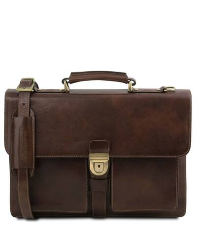Tuscany Leather Assisi Leather briefcase 3 compartments Dark Brown - TL141825/5
