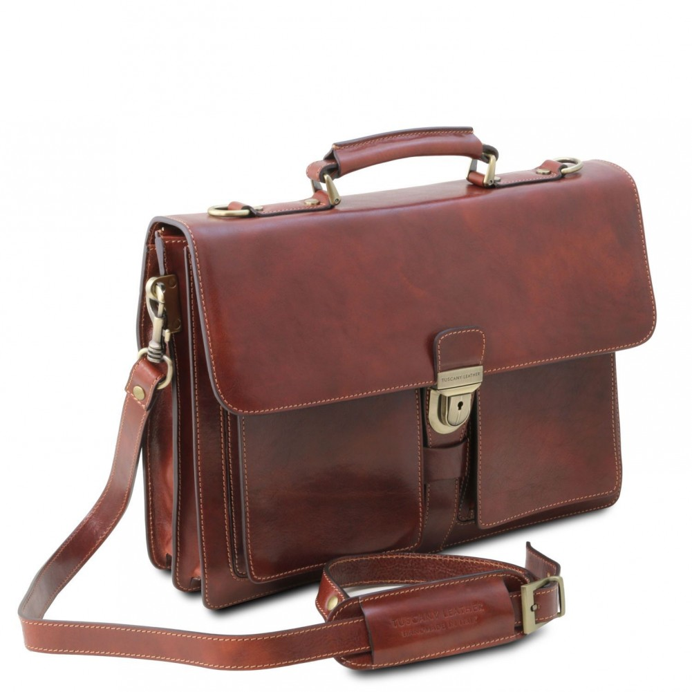 Tuscany Leather Assisi Cartella in pelle 3 scomparti Testa di Moro - TL141825/5