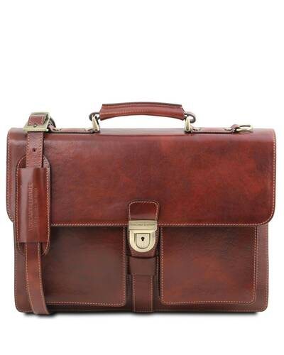 Tuscany Leather Assisi Leather briefcase 3 compartments Brown - TL141825/1