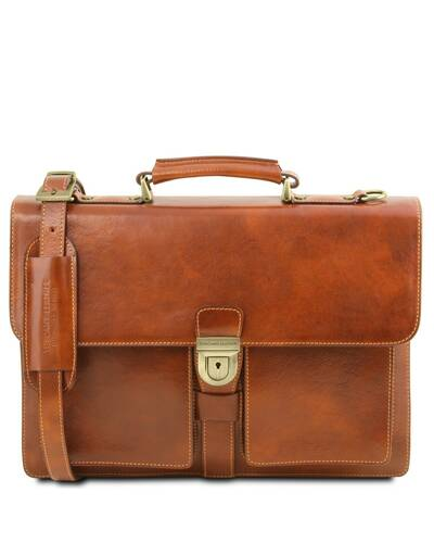 Tuscany Leather Assisi Leather briefcase 3 compartments Honey - TL141825/3