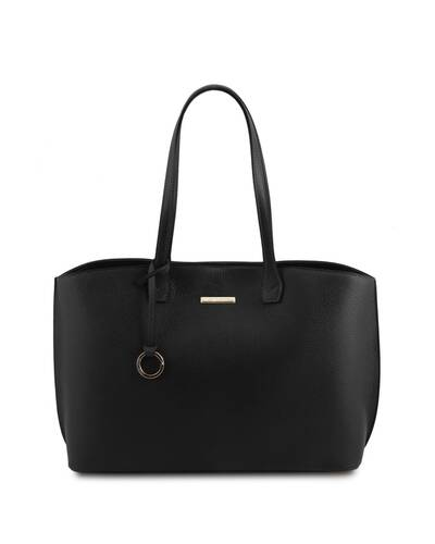 Tuscany Leather TL Bag - Soft leather shopping bag Black - TL141828/2
