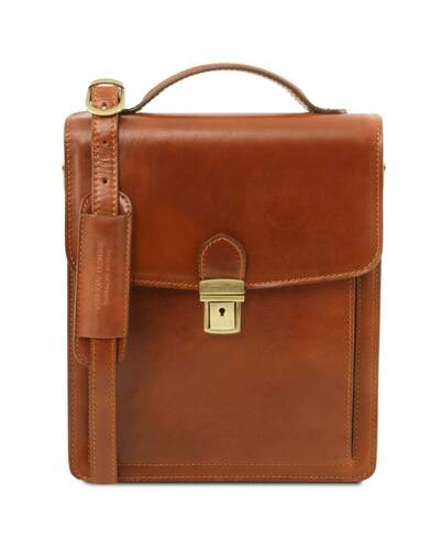 Tuscany Leather David - Borsello in pelle a tracolla - Misura grande Miele - TL141424/3