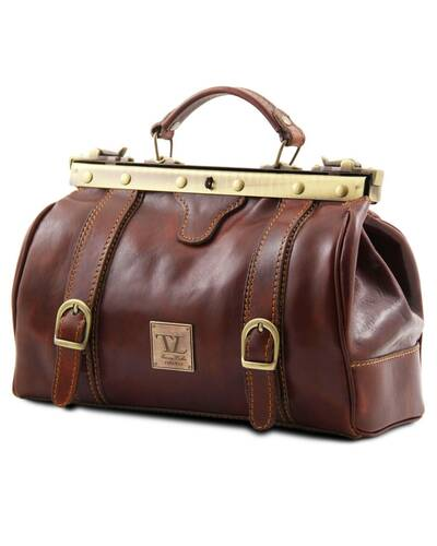 Tuscany Leather - Monalisa - Doctor gladstone leather bag with front straps Brown - TL10034/1