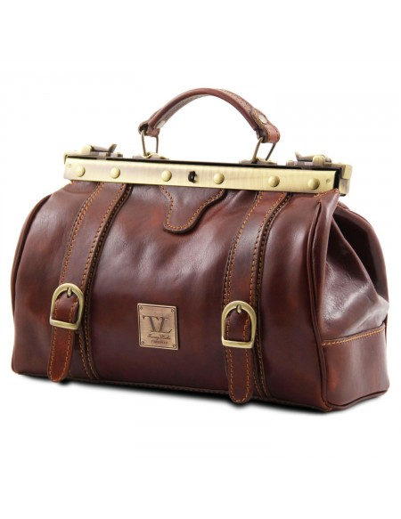Tuscany Leather - Monalisa - Doctor gladstone leather bag with front straps Honey - TL10034/3