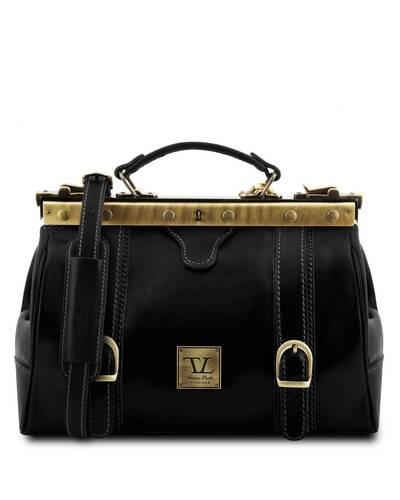 Tuscany Leather - Monalisa - Doctor gladstone leather bag with front straps Black - TL10034/2