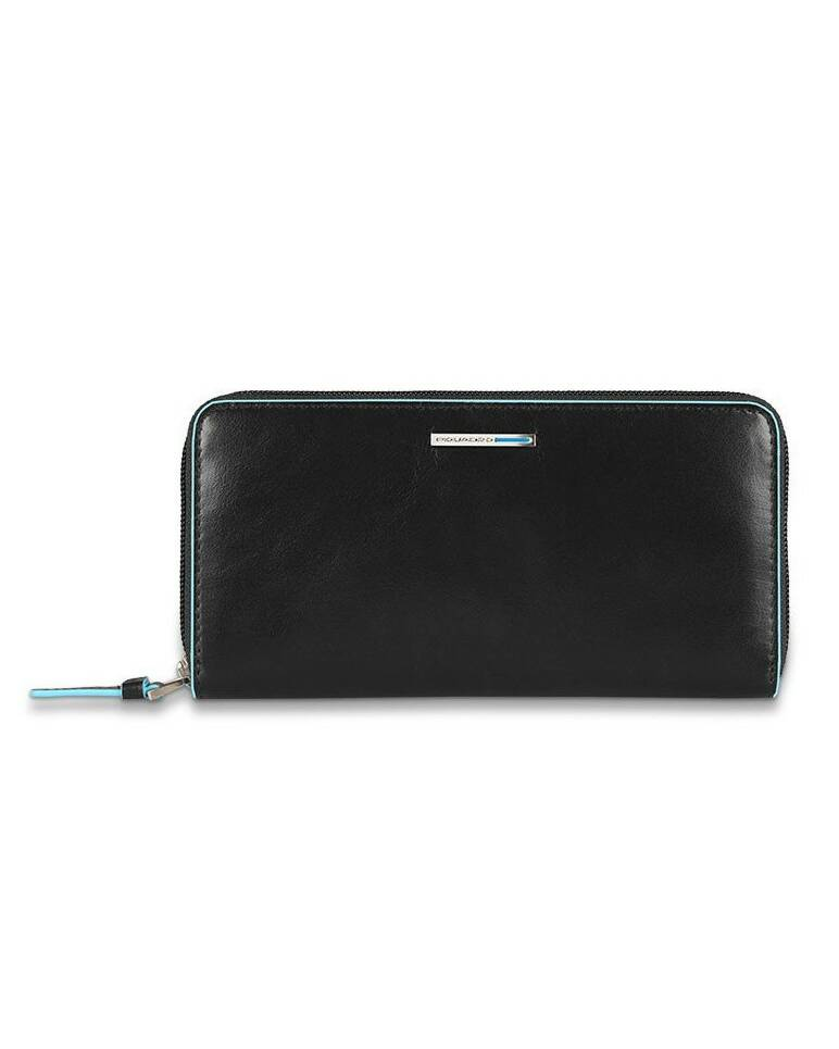 Piquadro Blue Square zipper women's wallet with coin pocket and credit card slots, Black - PD3229B2/N