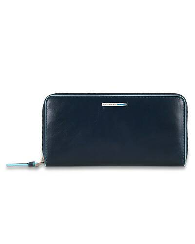 Piquadro Blue Square zipper women's wallet with coin pocket and credit card slots, Night Blue - PD3229B2/BLU