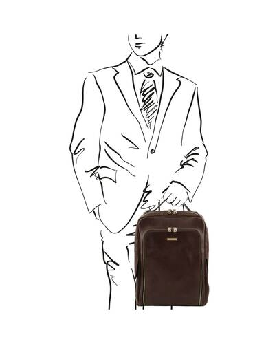 Tuscany Leather Bangkok Leather laptop backpack Dark Brown - TL141793/5