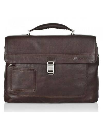 Piquadro Vibe computer briefcase with two dividers, Dark Brown - CA1045VI/TM