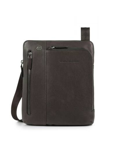 Piquadro Black Square iPad®Air/Pro 9,7 crossbody bag with double front zip pocket, Dark Brown - CA1816B3/TM