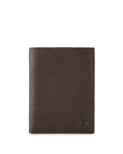 Piquadro Black Square Vertical men's wallet with RFID antifraud, Dark Brown - PU1393B3R/TM