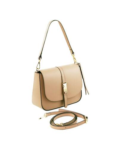 Tuscany Leather Nausica - Ruga leather shoulder bag Champagne - TL141598/126