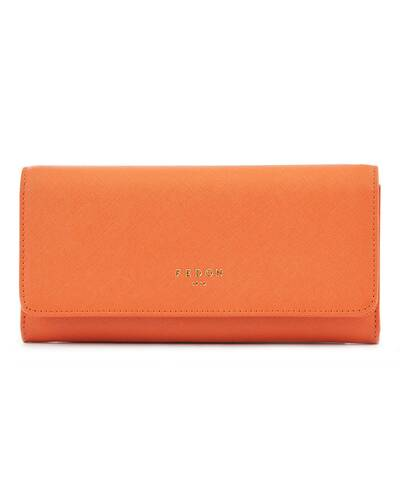 Fedon 1919 - Emily - Large Women's wallet with flap, Orange - WS1910076/AR