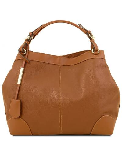 Tuscany Leather Ambrosia - Soft leather bag with shoulder strap Cognac - TL141516/6