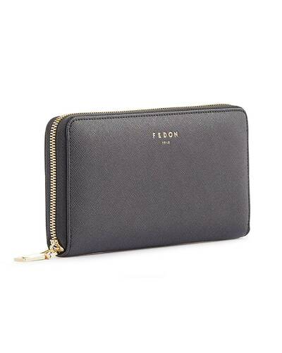 Fedon 1919 - Emily - Large 2 compartment wallet with zip, Black - WS1910074/N