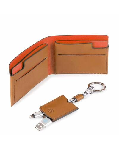 Piquadro BagMotic gift box with man's wallet and keychain, Red - ACBOX11BM/RO