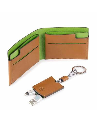 Piquadro BagMotic gift box with man's wallet and keychain, Green - ACBOX11BM/VE