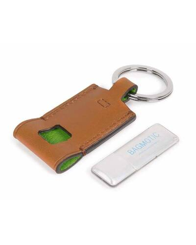 Piquadro BagMotic Leather key-chain with 16GB USB flash drive, Green - AC4240BM/VE