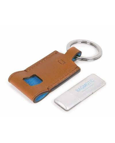 Piquadro BagMotic Leather key-chain with 16GB USB flash drive, Blue - AC4240BM/BLU