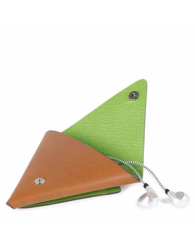 Piquadro BagMotic earphone triangular leather case, Green - AC4242BM/VE