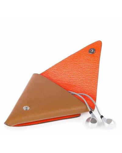 Piquadro BagMotic earphone triangular leather case, Red - AC4242BM/RO
