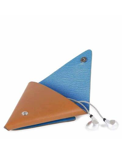 Piquadro BagMotic earphone triangular leather case, Blue - AC4242BM/BLU