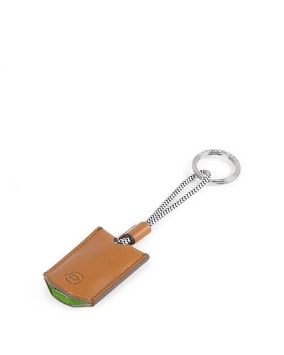 Piquadro BagMotic Leather key-chain with USB, micro-USB and lightning cable, Green - AC4236BM/VE