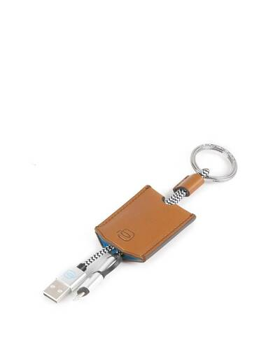 Piquadro BagMotic Leather key-chain with USB, micro-USB and lightning cable, Blue - AC4236BM/BLU