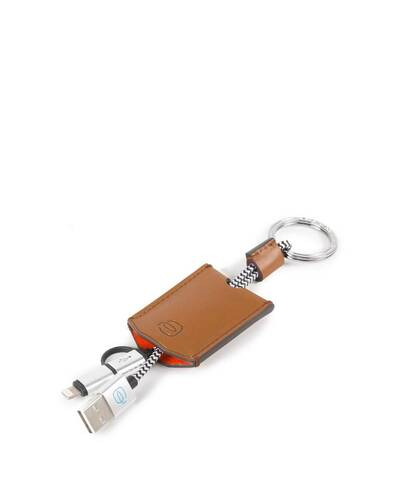 Piquadro BagMotic Leather key-chain with USB, micro-USB and lightning cable, Red - AC4236BM/RO